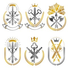 Vintage Weapon Emblems set. Heraldic Coat of Arms, vintage vecto