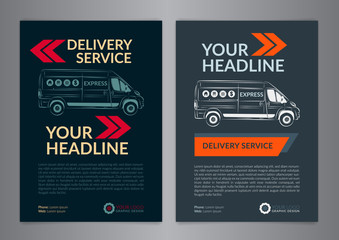 Set A4 Express delivery service brochure flyer design layout template. Delivery van magazine cover, mockup flyer. Vector illustration.