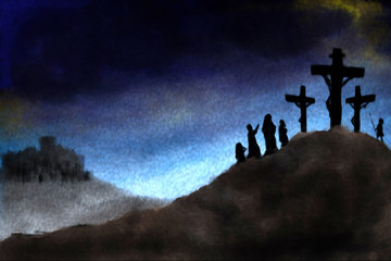 Crucifiction of Jesus Christ on Calvary hill . abstract artistic religious Easter background