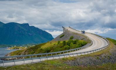 Scenic Atlantic Road curved bridge, Norway.