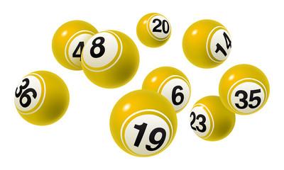 Vector Bingo / Lottery Number Balls Yellow Set on White Background