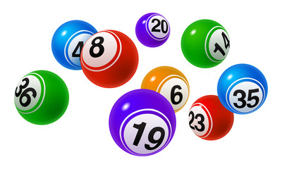 Vector Bingo / Lottery Number Balls Colorful Set on White Background