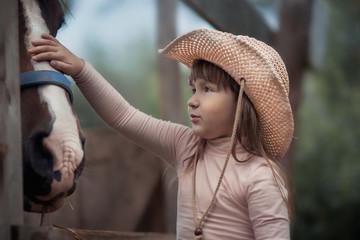 Cute girl feeding her horse in paddock