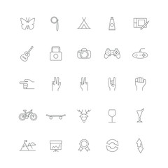 Set of linear hipster icons with different things (electronics, accessories, hand gestures).