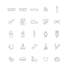 Set of linear hipster icons with different things (electronics, accessories and clothes).