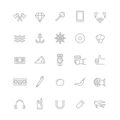 Set of black icons with different hipster things (food, electronics, accessories, hand gestures).