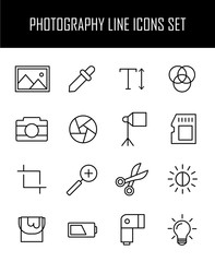 Set of photography icons in modern thin line style.