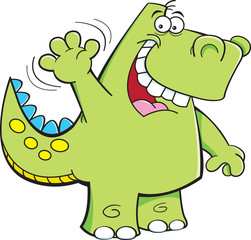 Cartoon illustration of a dinosaur waving.