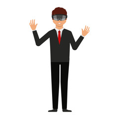 Person with augmented reality glasses vector illustration design