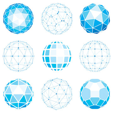 Set of abstract 3d faceted figures with connected lines. Vector