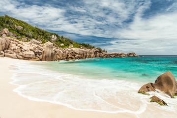 Seychelles. La Digue Island. Desert beach.