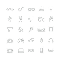 Icons with different hipster accessories.