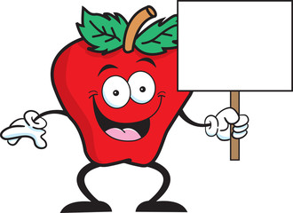Cartoon illustration of an apple holding a sign.