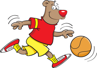 Cartoon illustration of a bear playing basketball.