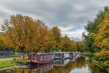 channel with barges, Leiden, Netherlands