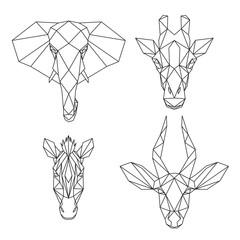 Animali Africani in stile astratto geometrico, elefante, giraffa, zebra, antilope, arte lineare sullo sfondo bianco, illustrazione vettoriale
