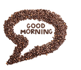 Isolated Coffee Bean Thought Bubble with Phrase Good Morning