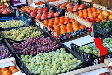 Various fresh fruits on market
