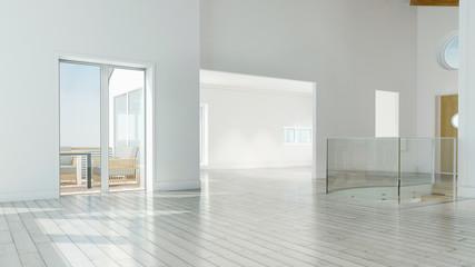 Leere Räume in Wohnung mit Balkon