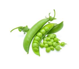 Fresh green pea pod on white background