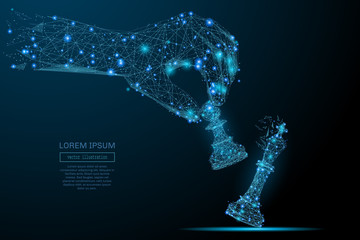 Abstract image of a hand holding chess pawn in the form of a starry sky or space, consisting of points, lines, and shapes in the form of planets, stars and the universe. Vector business concept.