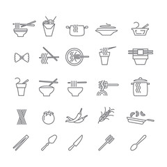 Icons with dishes of noodles.