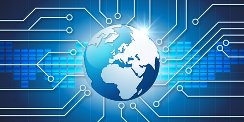 Informatique - technologie - terre - communication - globe - connexion