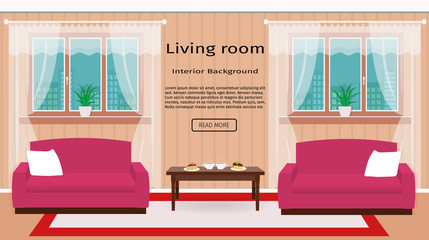 Living room interior banner with windows and furniture. Hot coffee and dessert on table.