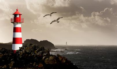 Leuchtturm an der Küste schwarz/weiß