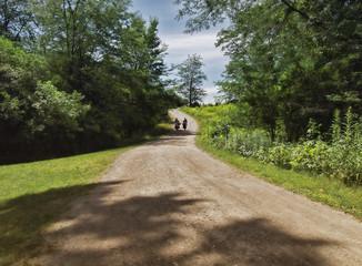 women walking down a rural dirt road