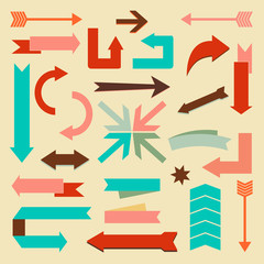 Set of arrows and directions signs. Vector illustration