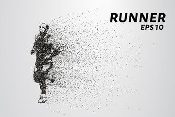 Runner of the particles. The silhouette of the runner consists of circles and points. Vector illustration