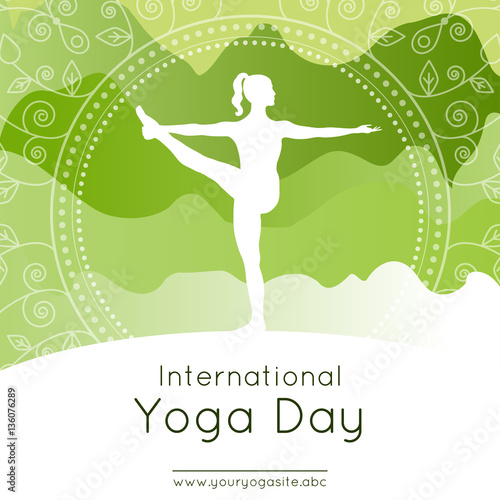 Vector Illustration With Woman In Yoga Pose On An Mountains Landscape Background For Use As Template
