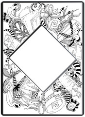 Frame zentangle, vector image. Floral hand drawn