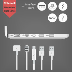 Laptop side view with connectors icon. Notebook and 5 interface icons. MagSafe 2, Ethernet, Thunderbolt, USB 2.0 and 3.0. Plugs and Sockets for your design web store or web site. Charging and Data