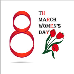 Women's Day March 8 Greeting card vector illustration EPS10, beautiful background with tulips