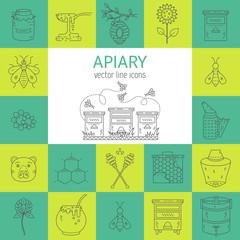 Apiary line icons set