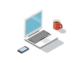 Vector Isometric laptop, smartphone, coffee cup.