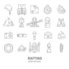 Rafting icons set