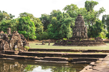 Angkor Wat, Cambodia - December 6, 2016: Galleries and tourists