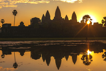 Sunrise at Angkor Wat Temple. Twillings time.  Cambodia