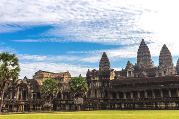 Tower and galleries of Angkor Wat Temple at morning