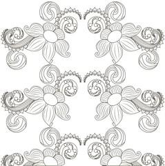 Seamless monochrome floral pattern stock vector illustration