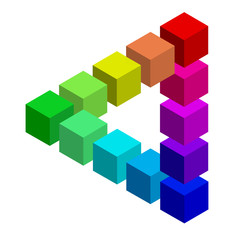 CMYK Farben optische Täuschung vor weißem Hintergrund