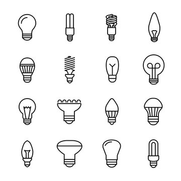 Set of light bulb icons in modern thin line style.