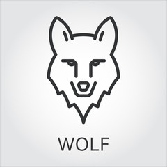 Black icon style line art, head wild animal wolf.