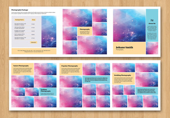 Square Trifold Grid Style Photography Brochure Layout