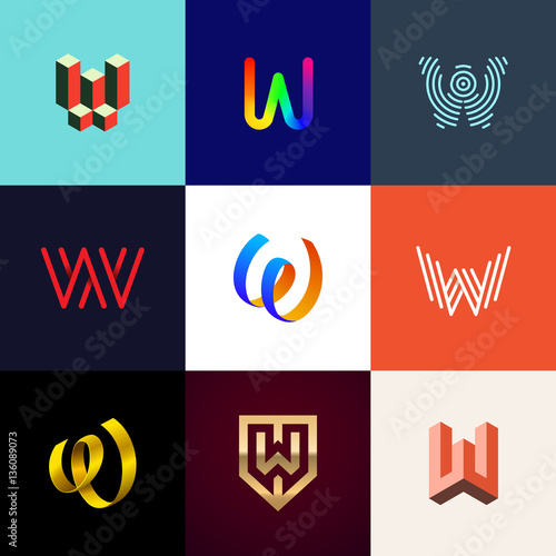 Letter w big logo pack creative vector monograms for W and p design