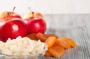 Red apples and dried fruits