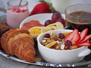 Health breakfast.Cup of coffee espresso with croissant and cheese